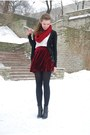Ruby-red-self-made-scarf-black-tamaris-boots-black-zara-cardigan