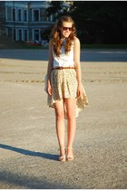 beige DIY skirt - eggshell random shoes - white Ralph Lauren shirt