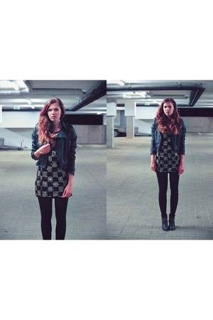 black leather random jacket - black Tamaris boots - black sequin vintage dress