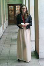 beige maxi chiffon DIY skirt - black blink shoes - black leather random jacket