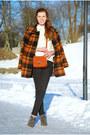 Charcoal-gray-angelo-caurtti-boots-burnt-orange-plaid-thrifted-coat
