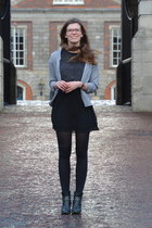 black Tamaris boots - charcoal gray H&M dress - silver lindex cardigan