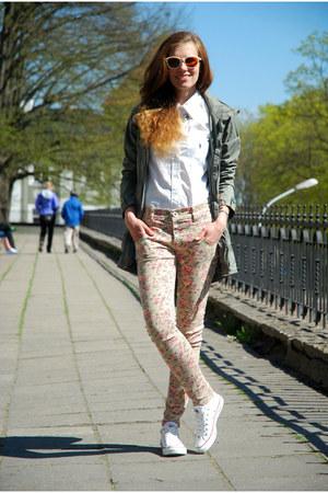 light brown threadsense necklace - tan floral AX Paris jeans