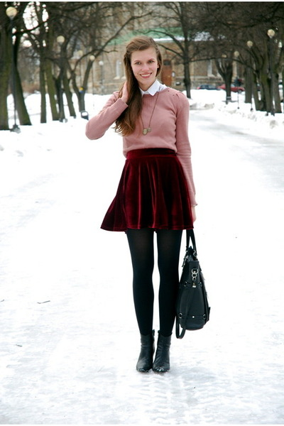 suede Chicwish skirt - Tamaris boots - pull&bear sweater - thrifted shirt