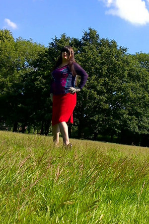 red Marks and Spencer skirt - purple Per Una blouse - black heels