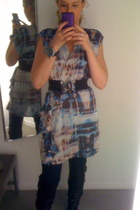 H&M dress - Steve Madden boots - Gap jeans