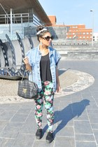 H&M earrings - vintage jacket - Topshop leggings - Moschino bag - H&M ring
