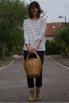 white navy striped Norah top - camel Isabel Marant boots - black Mango pants
