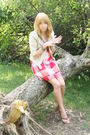 Red-hollister-dress-beige-abecrombie-jacket-brown-aerie-shoes-silver-brace