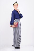 black Marie Claire shoes - ruby red traditional bag banda aceh bag - blue Vintag