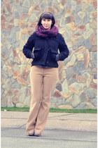 mustard Topshop pants - navy Topshop jacket - magenta H&M scarf