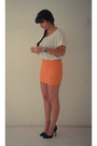 White-topshop-shirt-carrot-orange-zara-skirt