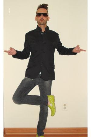 black Green Light jacket - white Norma Kamali t-shirt - gray bulldog jeans - gre