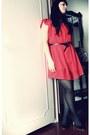Red-stradivarius-dress-black-mango-heels