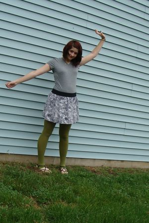 gray shirt - purple Forever 21 skirt - green Icing tights - black payless shoes