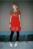 ruby red beaded vintage dress - black leather Urban Outfitters leggings