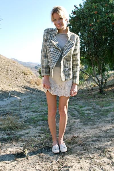 sky blue tweed vintage jacket - silver thrifted BCBG sweater