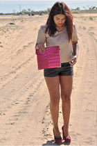 beige leather top top - hot pink Typo bag - black leather shorts shorts