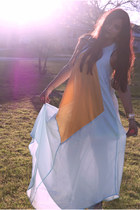light blue maxi dress cameo dress - gold knuckle ring romwe ring