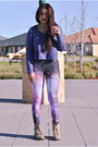 Brown-dotti-boots-galaxy-romwe-leggings-purple-crop-top-agent-ninetynine-top