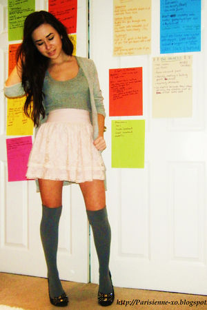 gray Primark top - pink H&M skirt - gray H&M socks - black Topshop shoes - gray