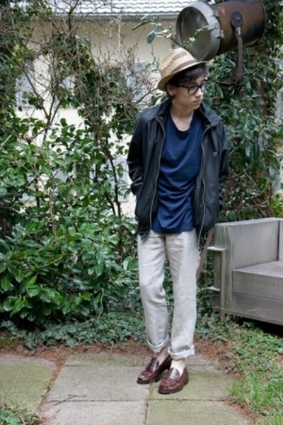 asos hat - Ray Ban glasses - acne t-shirt - Fly 53 jacket - H&M pants - Sebago s