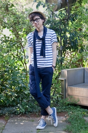 white striped H&M t-shirt - blue Converse shoes - brown straw asos hat