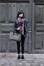 April-77-jeans-black-bizzbee-jacket-mango-sweater-les-cakes-de-bertand-bag