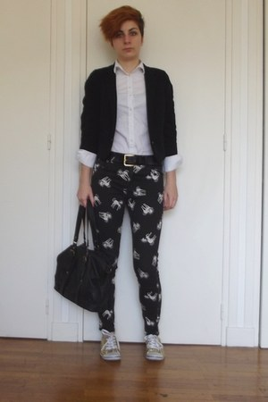 black unicorn Topshop pants - black 3-4 H&M blazer - white Zara shirt