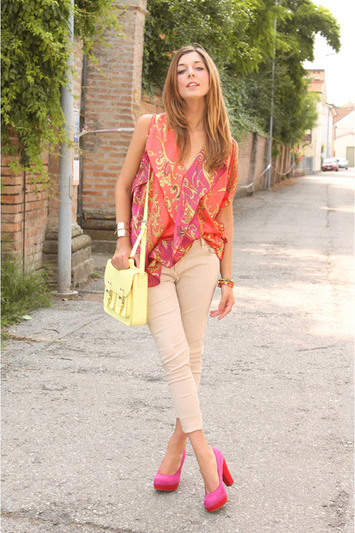 carrot orange ovs blouse - cream H&M bag