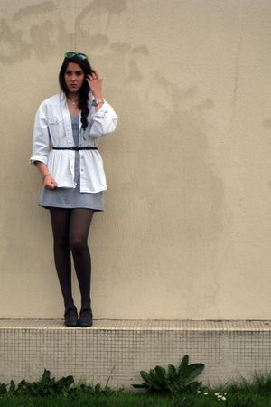 gray ANDRE shoes - black H&M tights - silver Mango dress - vintage jacket