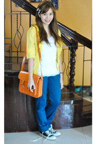 yellow cardigan - teal Terranova jeans - carrot orange Cole Vintage bag