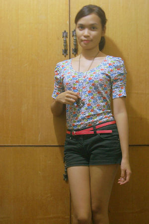 white random from greenhills blouse - black People are People shorts - pink YRYS