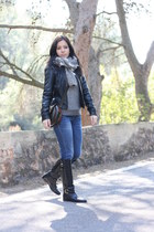 black Massimo Dutti boots - blue Fornarina jeans - black Vero Moda jacket