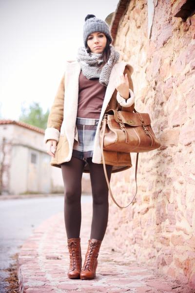 brown Urbaks bag - dark brown Hispanitas boots - dark brown Vero Moda coat