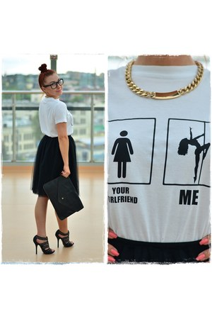 black DIY skirt - black Ray Ban glasses - gold Stradivarius necklace