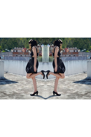 black mary janes Dafiti shoes - black Topshop dress - black cat asos bag