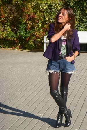 black Bimba &amp; Lola boots - blue Levis jeans - purple Silence Noise blazer