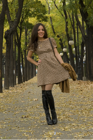 beige The Music Collection dress - black Bimba & Lola boots - brown vintage jack
