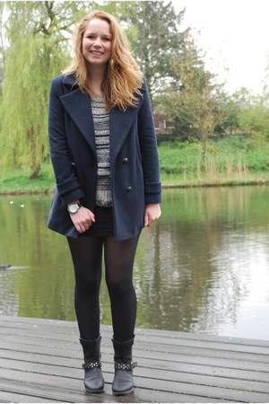 sailor blue Primark coat - flat boots Dolcis shoes - striped c&a sweater