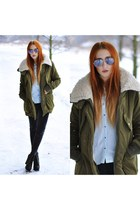 olive green Stradivarius coat - dark gray new look jeans - sky blue shirt