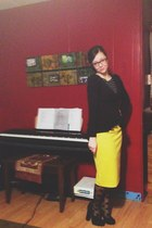 black polka dot sheer tights - yellow skirt - black blouse - black suede heels