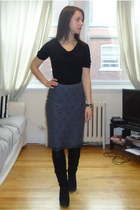 gray Jacob skirt - black wedges suede Aldo Shoes boots - black Smart Set shirt