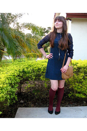 dress - camelmustard bag - rust socks - tribal style necklace - pointy toe flats