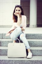 light pink Primark blazer - beige H&M bag