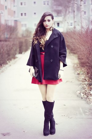 black Nelly boots - black Bershka coat - red new look skirt