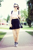 black Stradivarius skirt - navy Converse sneakers