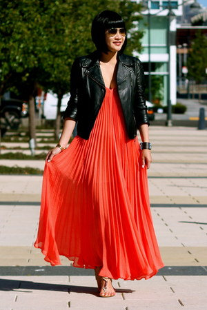 leather Club Monaco jacket - coral BCBG dress - silver coach sandals