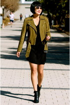 Tibi boots - Aqua dress - suede Club Monaco jacket - aviator ray-ban sunglasses