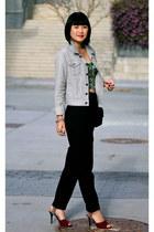 bustier Club Monaco top - Chanel bag - burgundy heels Zara sandals - Zara pants